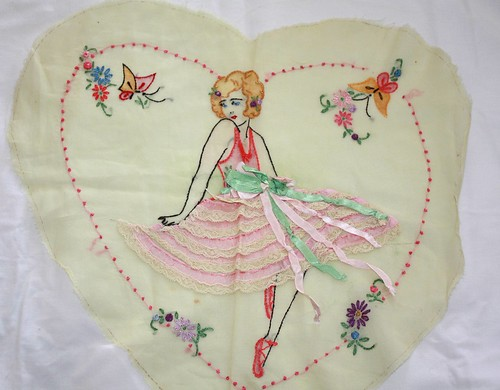 Vintage embroidered pillow top