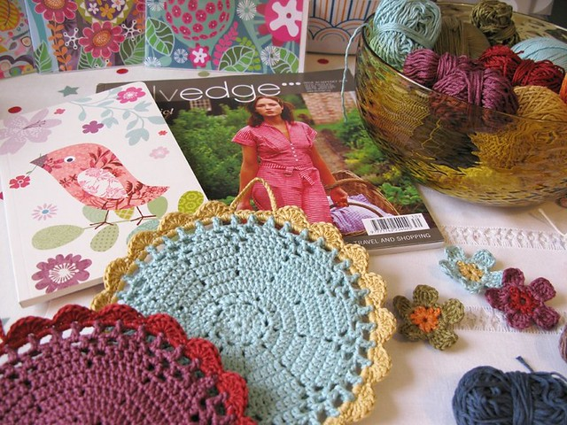 Saturated colours and crochet on my desk today | Emma Lamb
