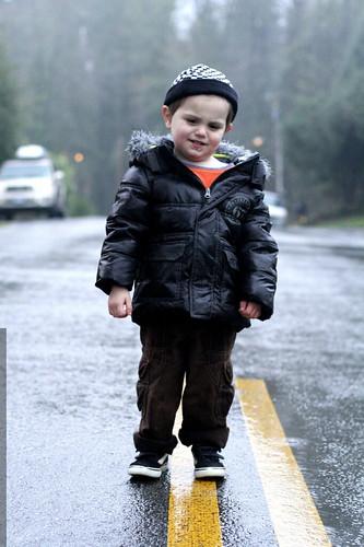 crossing laurel street in a downpour