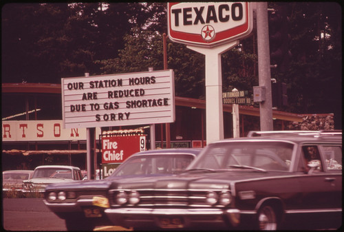 One of Many Service Stations in the Portland Area Carrying Signs Reflecting the Gasoline Shortage 06/1973