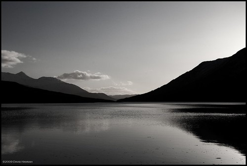 sunset sea bw white black mountains clouds reflections landscape scotland peace tranquility calm frieden glen ripples loch schottland gloaming etive friedlichkeit