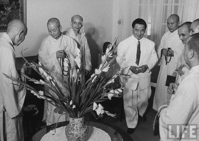 Sep 1963 - President Ngo Dinh Diem receiving delegation of Buddhist monks at Gia Long Palace