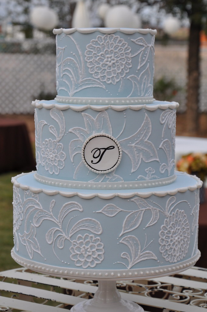 Vintage Inspired Wedding Cake w/ Monogram