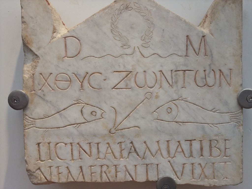 Funerary Stele Of Early Christian Woman Depicting Fish Symbols