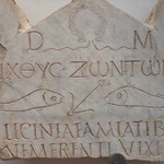 Funerary stele of early Christian woman depicting fish symbols discovered near Vatican necropolis early 3rd century CE