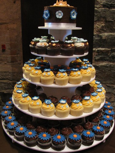 Orange Blue Brown and White Wedding Cupcake Tower Montreal August 1