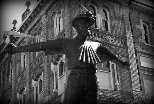 Statue to the Tin Miner - Redruth, Cornwall (BW version) by Stocker Images