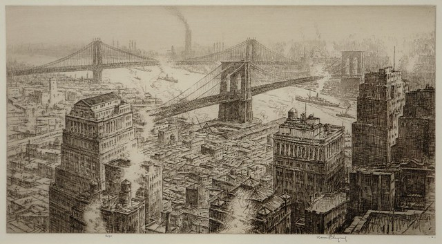 Untitled [Scene of lower Manhattan with Manhattan & Brooklyn Bridges]