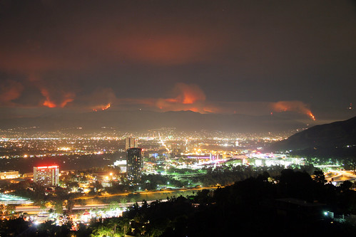 """The La Cañada Flintridge """"Station fire"""" as viewed from Mulholland Drive in Los Angeles. Most of the brush has not burned in 60 years. by kjdrill"""