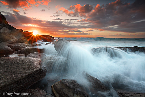 ocean sea sky sun beach water clouds sunrise rocks sydney wave australia nsw солнце море beachsunrise bungan рассвет океан abigfave