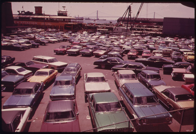 DOCUMERICA: Parking Lot at Ferry Dock on Staten Island 05/1973 by Arthur Tress.