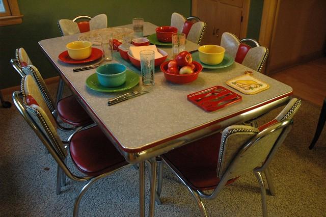 retro kuehne khrome kitchen table set up for dinner a photo on flickriver. Black Bedroom Furniture Sets. Home Design Ideas