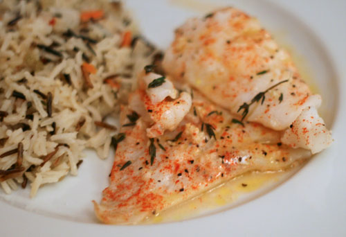 Fabulous fish baked lemon herb cod recipe sarah 39 s for How to cook cod fish in the oven