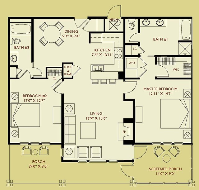 Condo d202 floor plan 2 bedroom 2 bath second floor for 2 bedroom 2 bath condo floor plans