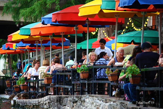 Colorful umbrellas of Casa Rio on the San Antonio Riverwalk