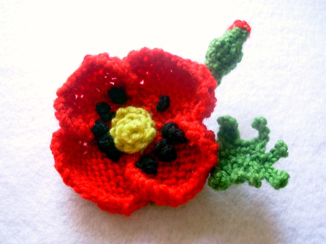 Free Crochet Poppy Brooch Pattern : Knit and Crochet Red Poppy Brooch Pin Flickr - Photo ...