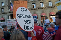 Cut spending not deals (but nurses support medicare for all) dueling signs outside Obama fundraiser at the Westin St Francis, Union Square - San Francisco by Steve Rhodes