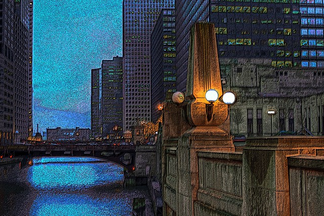 chicago river at dusk 1-4a enhanced 4x6