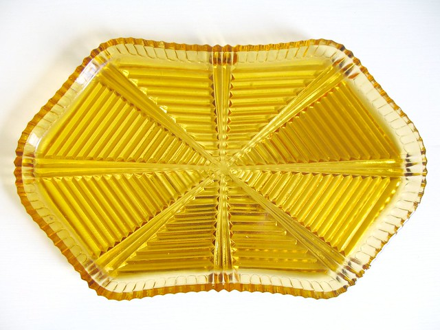 Score! Amber gold vintage glass tray | Emma Lamb
