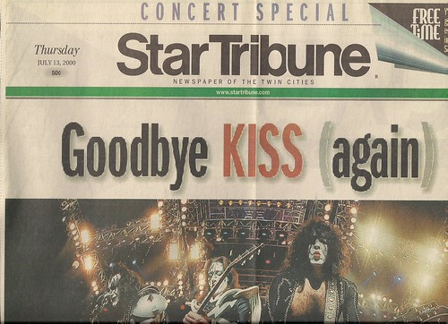 07/13/00 Kiss/Ted Nugent/Skid Row @ Minneapolis, MN (Star Tribune Special Edition Front Page - Top)