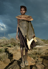 Pokot girl with giant necklace - Kenya