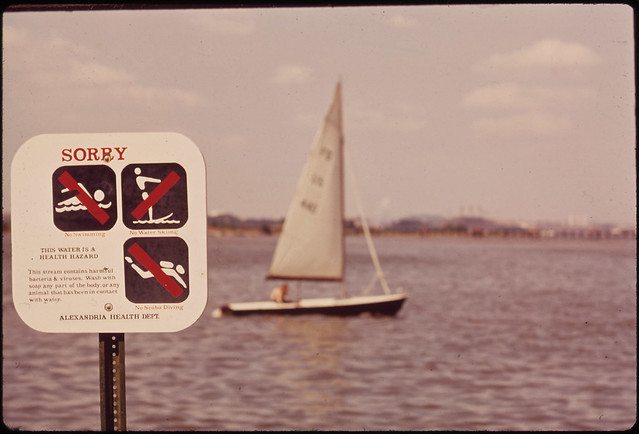 warning sign Potomac River by Eric Calonius 8/1972