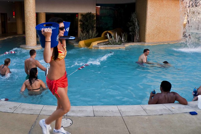Hot chick at golden nugget pool flickr photo sharing for Pool and patio show las vegas