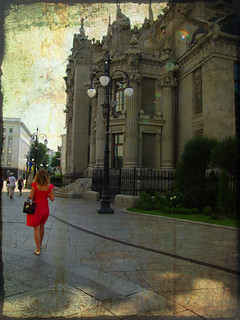 Woman in red and Kiev's architecture (series)