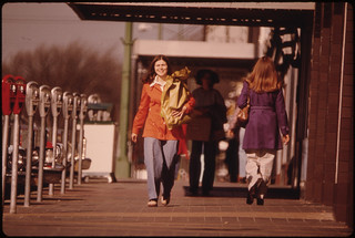 Street Scene with Sidewalk Shoppers in the Fall at New Ulm Minnesota ..., 10/1974