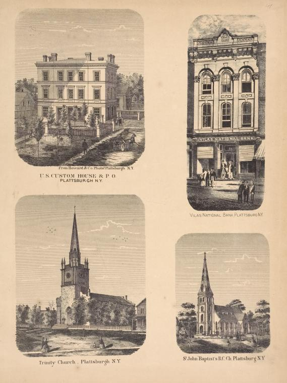 'U.S. Custom House & P.O., Plattsburgh, N.Y.; Trinity Church...