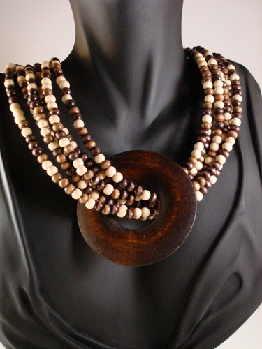 Wooden multistrand layered necklace