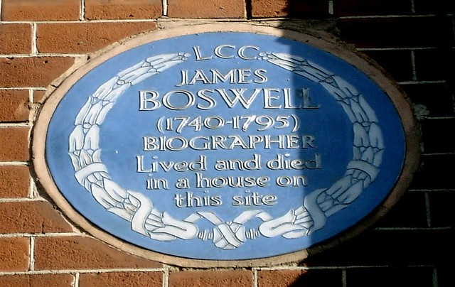 James Boswell blue plaque - James Boswell (1740-1795) biographer lived and died in a house on this site