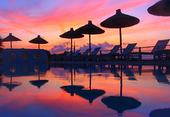 Sunset colors reflected in the pool of the Ammos Hotel near Chania, Crete.  Inspired by flopper's great sunset shots.