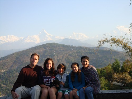 The Carlson family and their Buddy in Nepal