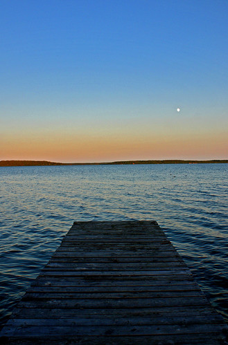 sunset moon lake dock