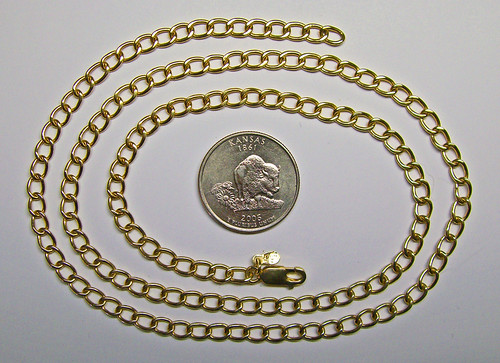 18K Handmade Gold Curb Link Chain...24.6 grams