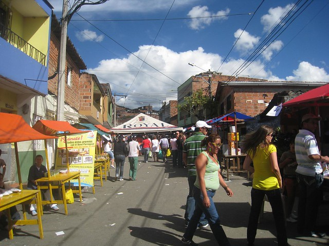 Charity block party in Medellin