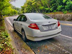 ford(0.0), automobile(1.0), automotive exterior(1.0), family car(1.0), wheel(1.0), vehicle(1.0), nissan teana(1.0), compact car(1.0), bumper(1.0), sedan(1.0), land vehicle(1.0),