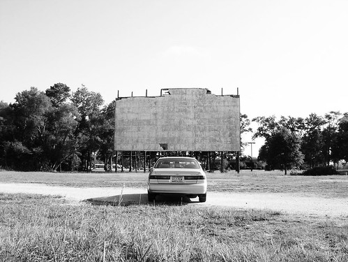 Twin Ranch Drive-In Movie Theater, Cleveland, Texas 0804090900BW