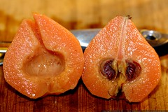 poached quince, sliced in half   cooking for raid re…