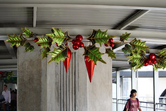 Christmas decoration on the walk way between the BTS stations Siam Central and Chit Lom in Bangkok