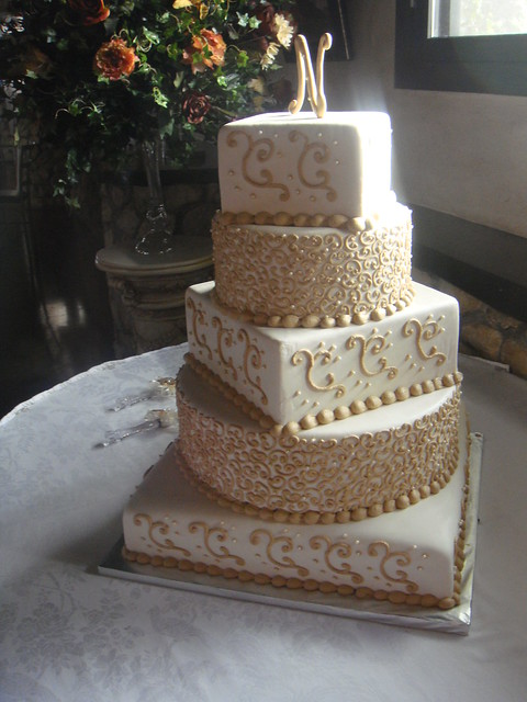 Ivory and tan wedding cake This is my very first wedding cake