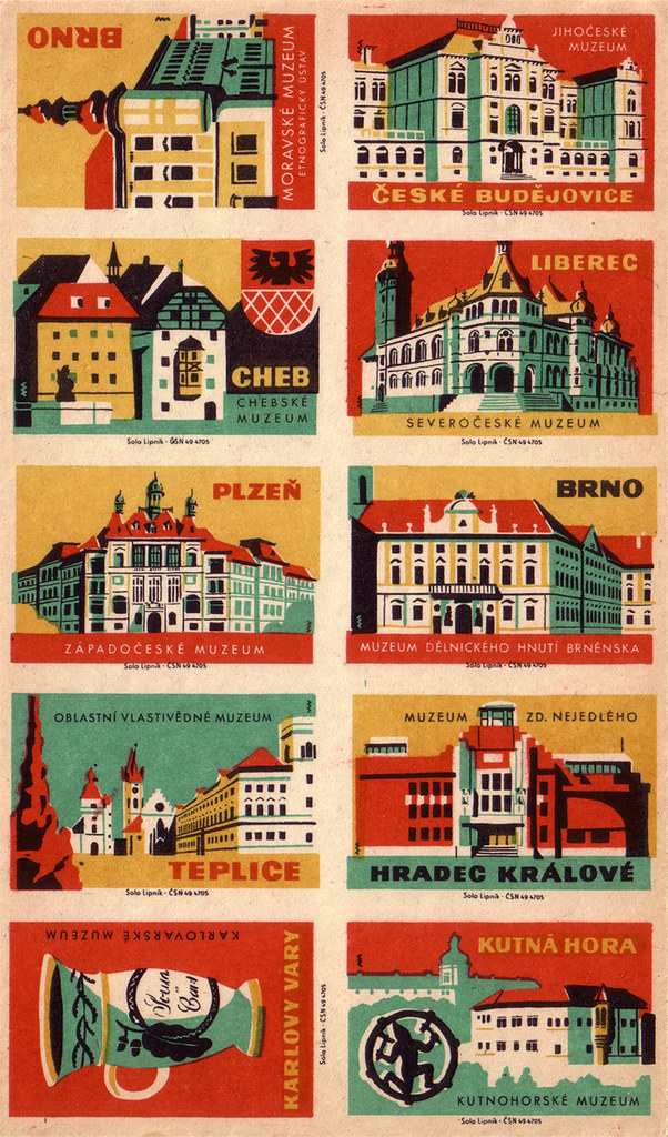 Czechoslovak matchbox labels (uncut sheet)