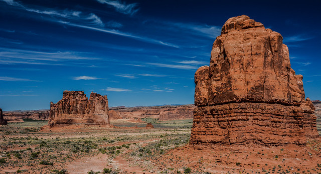 Courthouse Towers from La Sal Mountains Viewpoint in Arches National Park, Utah, USA