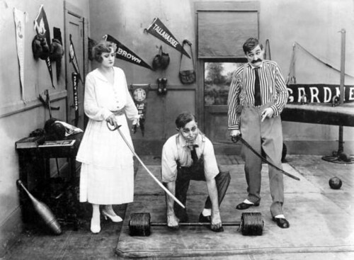 Scene from old movie with Ethel Burton Palmer, Bobby Burns, and Walter Stull