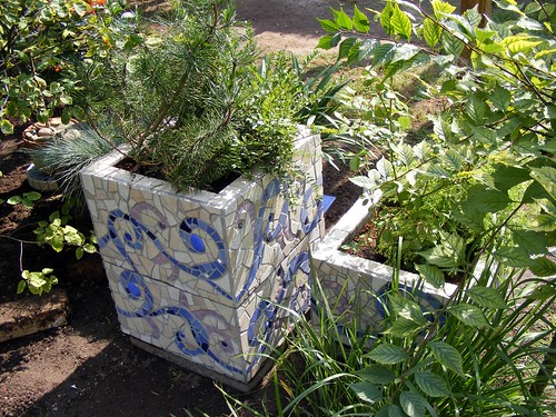 Mosaic planters - back side