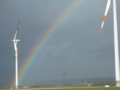 rainbow, wind, wind farm, wind turbine,