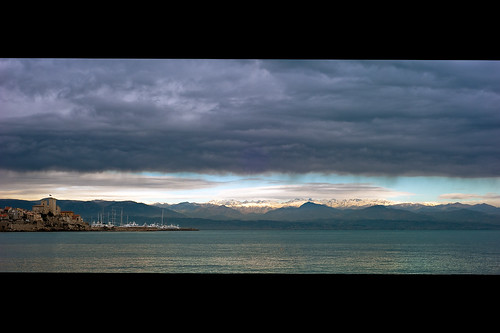 sea cloud sun mountain snow france green 50mm nikon scenery shore nikkor f18 cinematic antibes d700 fabricedrevon