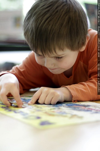 finishing a jigsaw puzzle @ the library
