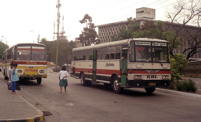 Kapalaran Bus Line Hino NVU-912 (fleet No 1047) and Trifmann Hino DVS-749 (fleet No 41424) Lawton area, Manila, Philippines.